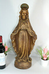 Antique Merlini Signed Chalkware Xl Madonna Mary Figurine Statue Religious