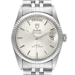 Tudor Day Date Silver Dial Steel White Gold Vintage Mens Watch 94614