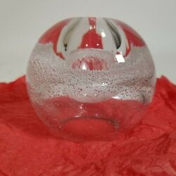 Hand Blown Clear Glass Oil Lamp Paperweight Controlled Bubble Decor