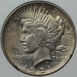 1921 Peace Dollar High Relief Anacs Ms 61