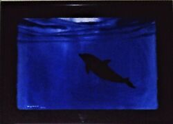 Wyland Authentic Original Watercolor Painting Marine Life Dolphin Ocean