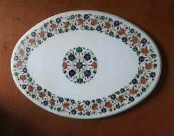4and039x2and039 White Marble Table Top Coffee Antique Stones Inlay Home Pietra Dura Ioi