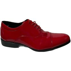 Stacy Adam's Men's Size 8.5 Red Shiny Lace Up Dress Shoes Patent Leather