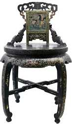 Antique Chinese Hand Painted Lacquered Chang Ming Style Decorative Chair