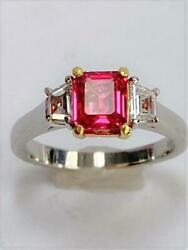 Platinum/18k Yellow Gold Pink Spinel And Diamond Ring