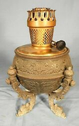 Antique Victorian Embossed Oil Lamp With Dolphin Feet