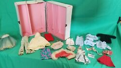 Vintage Miner Ind. Fashion Doll Wardrobe Case/trunk White/blue With Rare Clothes