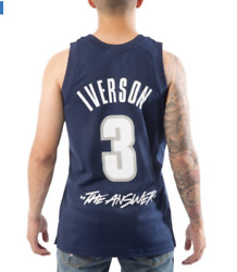 Mitchell Ness Georgetown Iverson The Answer Swingman College Voult Navy Jersey
