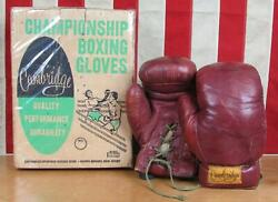 Vintage 1950s Cambridge Leather Championship Boxing Gloves Power Punch Orig.box