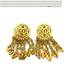 Earrings Auth Coco Logo Mark Cc Gold Vintage Rare Clip On Fringe 95p F/s