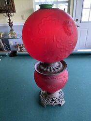 23andrdquo Red Ruby Antique Gwtw Globe Parlor Oil Lamp Gothic Please Read Details