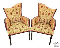 Pair Of Grosfeld House Hollywood Regency Newly Upholstered Armchairs W Tassels