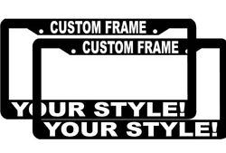 2 Custom Personalized White Letters Customized Vanity License Plate Frame Logo