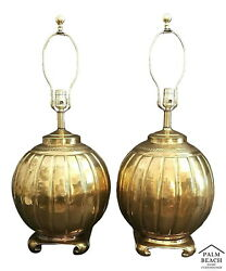 Vintage Large Hammered Brass Melon Asian Chinoiserie Style Table Lamps - A Pair