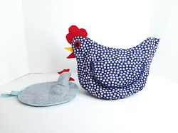 Vintage 14 X 11 Chicken Toaster Cover And Potholder Handmade Country Farmhouse