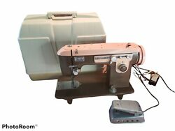 Vintage Brother Charger 651 Pink Brown Sewing Machine Model C W/ Case