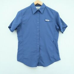 Columbia Pfg Omni-shade Short Sleeve Snap Button Vented Shirt Womenand039s Small Blue