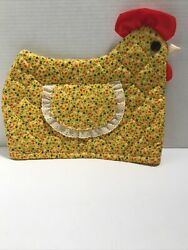 Vintage Toaster Appliance Yellow W/flowers Cover Lace Chicken Hen Flap Handmade