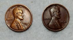 1946d And 1947no Mint Mark Lincoln Wheat Penny Good Condition
