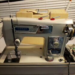 Vintage Morse Fotomatic Iii 4300 Zig Zag Sewing Machine And Acces Heavy Duty Clean