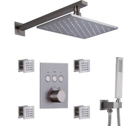 Led Rainfall Head Wall Mounted Conceal Button Thermostat Shower Faucet Set 8x12