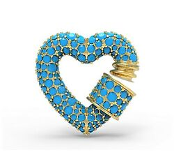 Turquoise Gemstone Heart Carabiner 14k Solid Yellow Gold Women Jewelry 20 Mm Jhj