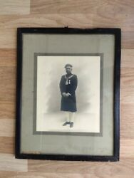 Collectible Old Black And White Print Of Indian Officer Glass Framed 19 X 15