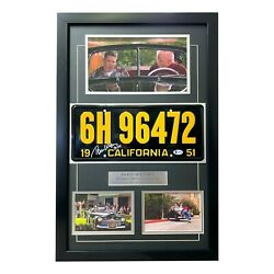 Back To The Future Signed Biff Tom F. Wilson Movie Car License Plate Framed Bas