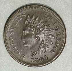1864-l Indian Head Cent, L On Ribbon, Choice Au And Better Date