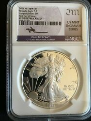 2021 W Silver Eagle Type 1 Ngc Pr70 Ultra Cameo First Day Issue/ Engraver Series