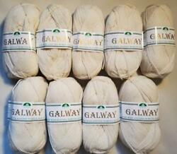 Lot Of 9 Plymouth Galway 100 Wool Worsted Off White 100g Ea