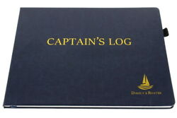 Direct 2 Boater Blue Hard Bound Captainand039s Log Book W/ Place Marker And Pen Holder