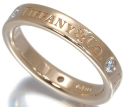 Diamond 3p Flat Band Ring 3mm Us4 K18pg Pink Gold Used Mint Condition