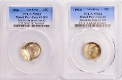 2 Coins Pcgs 10c 1964 Roosevelt Dime Mated Pair Double-struck And Brockage Ms64