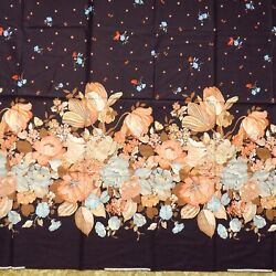 2 Yards Vintage Panther Floral Border Fabric Cotton