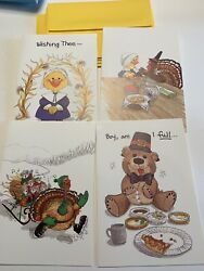 Vintage Suzy's Zoo Fall Thanksgiving Cards W/envelopes 4 Card Set