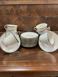 Lenox China Moonspun Ivory Platinum Trimmed Set Of 10 Footed Teacup And Saucer