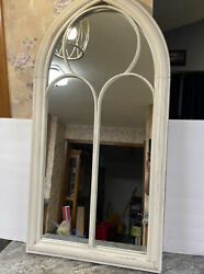 39quot; Indoor Outdoor Arched Decorative Mirror Whitewash Valerie Parr Hill New