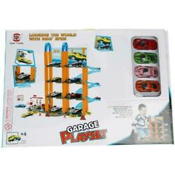 Garage Parking Car Wash Playset Including 4 Vehicles Ages 3+ Fun Toy Boys Girls