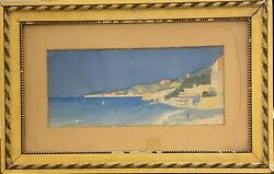 School French 1901 - View Synthetic Of The Bay Of Naples Italy - Signed