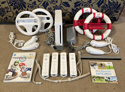 Nintendo Wii Console Mario Kart Bundle W/ Wii Sports 4 Controllers And Wheels