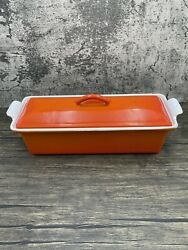 Le Creuset Cast Iron France 28 Pate Terrine Bread Loaf Pan - Flame Orange Flaws