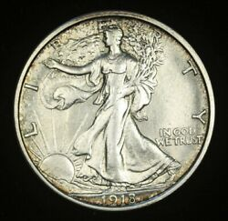 1918-d Walking Liberty Half Dollar, Almost Uncirculated And Nice