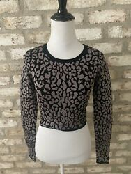 Pilcro Sunday Best Black Silver Pattern Pullover Cropped Sweater SZ XS