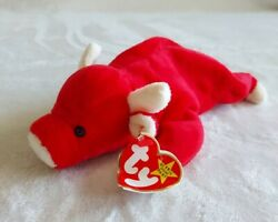 Rare Snort The Bull Retired Beanie Baby, Style 4002, Pvc Pellets. Pre-owned.