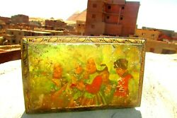 Vintage Tin Box Family, Countryside And Music, Very Antique Item, Rare Condition