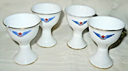 Vtg 4pc Lot Airline China Porcelain Souvenir Egg Cups Caac Red Star Blue Wings