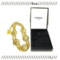 Necklace Pendant Choker Chain Auth Rare Vintage Gold 31 Cambon Coin F/s