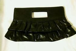 Vtg Faux Leather Ruffled Pleated Black Clutch Wedding Prom Homecoming Purse Bag $11.99