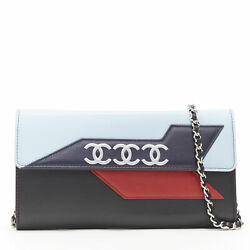 Airline Cc Logo Lambskin Leather Long Flap Wallet On Chain Clutch Bag